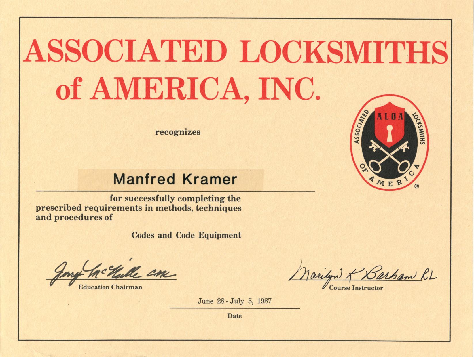 ALOA-Codes And Code Equipment 1987