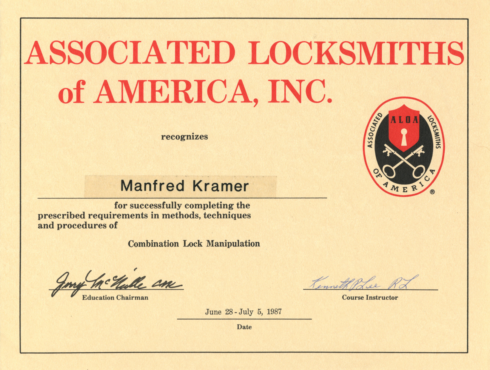 ALOA-Combination Lock Manipulation 1987