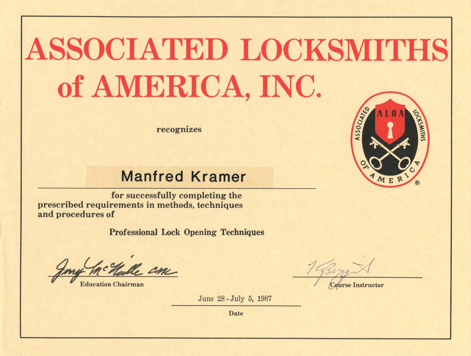 ALOA-Professional Lock Opening Techniques 1987