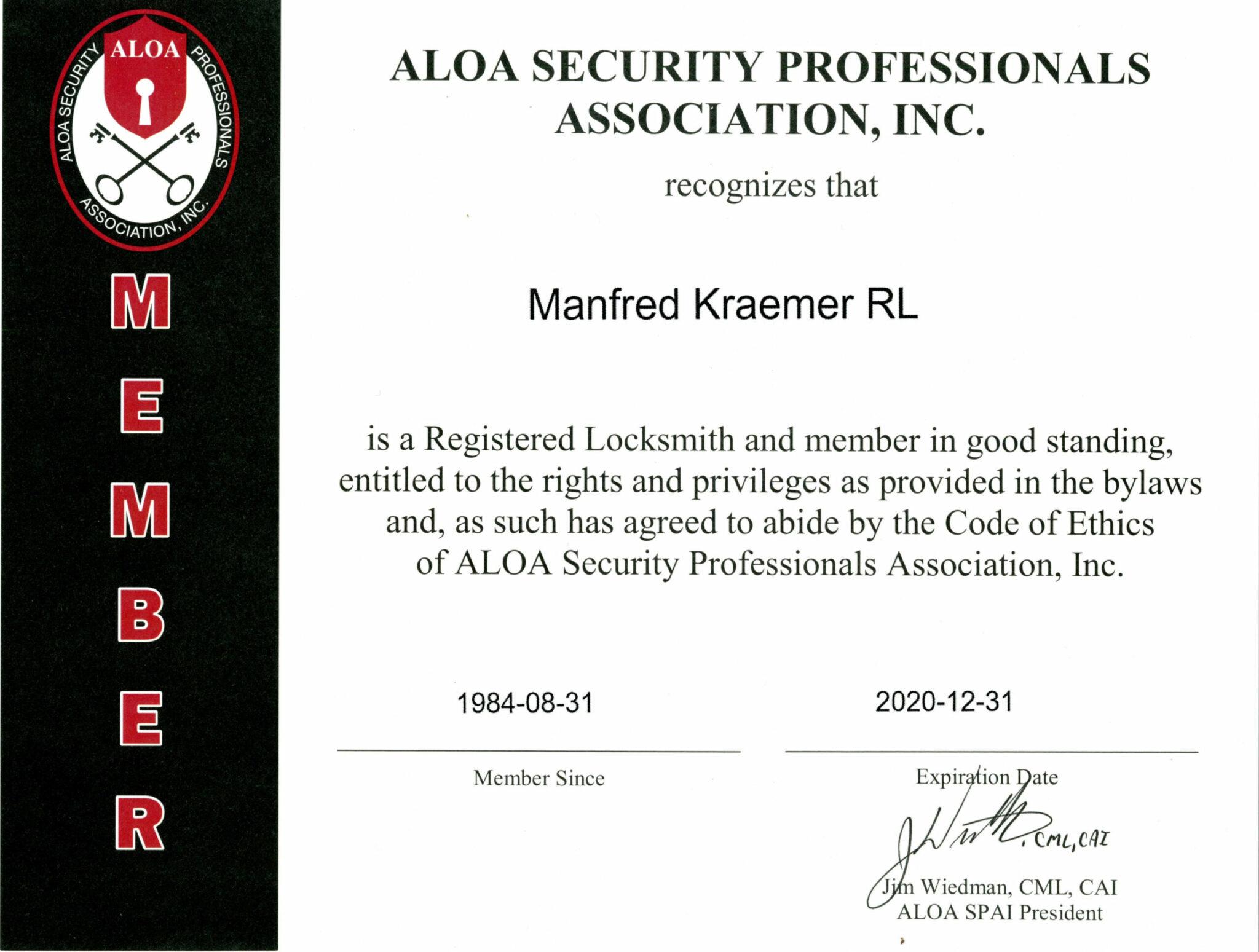 ALOA Zertifikat 2020