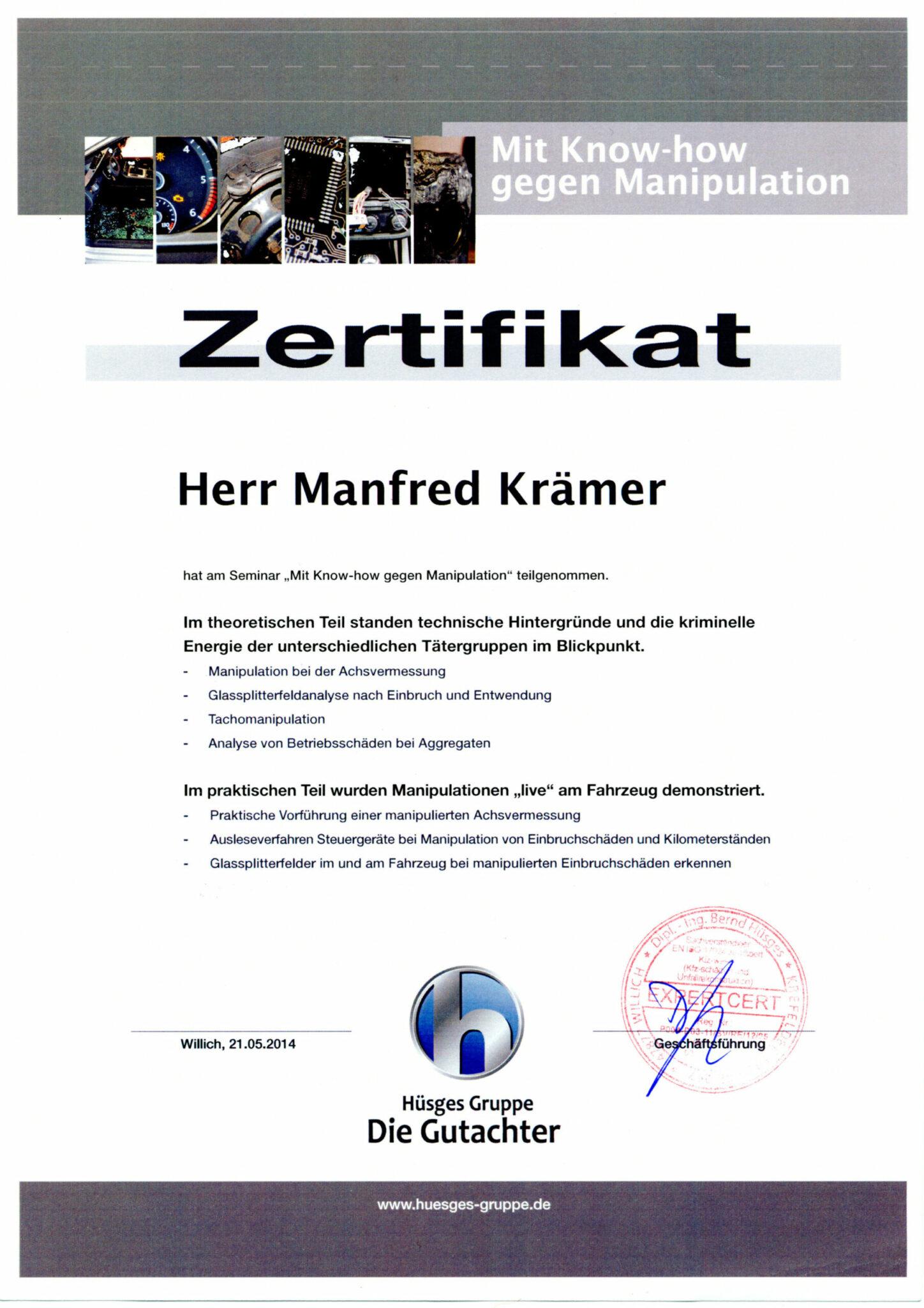 Hüsges Zertifikat 2014
