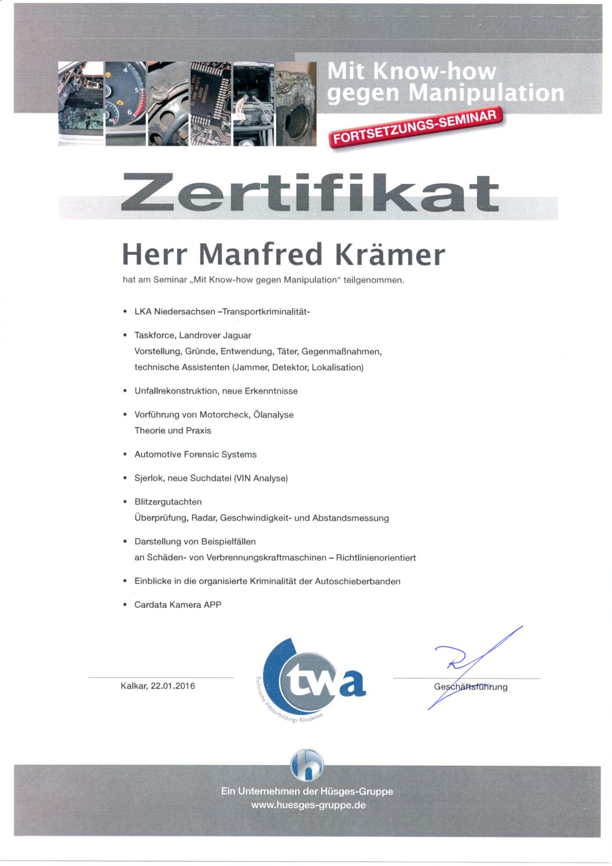Hüsges Zertifikat 2016