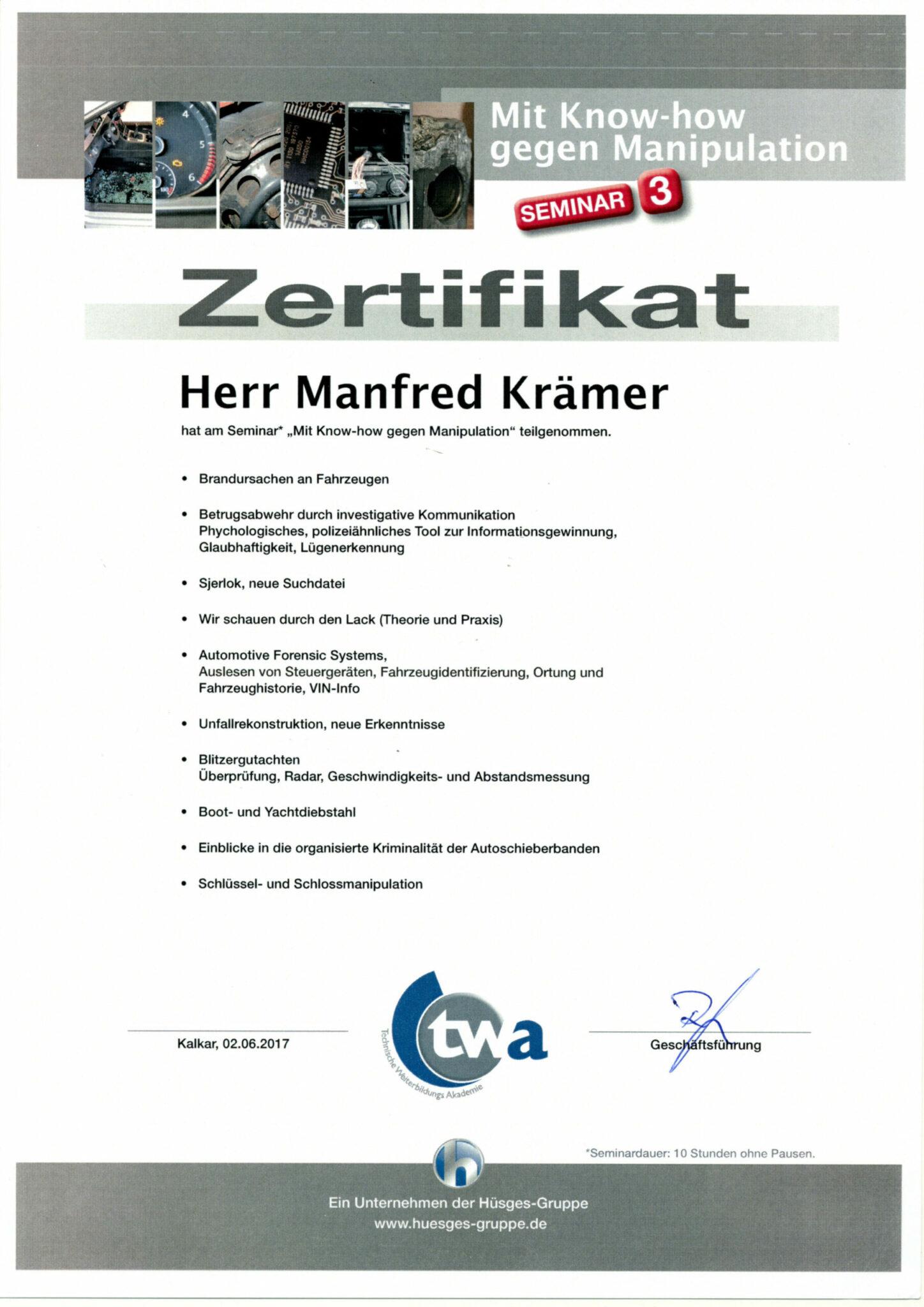 Hüsges Zertifikat 2017