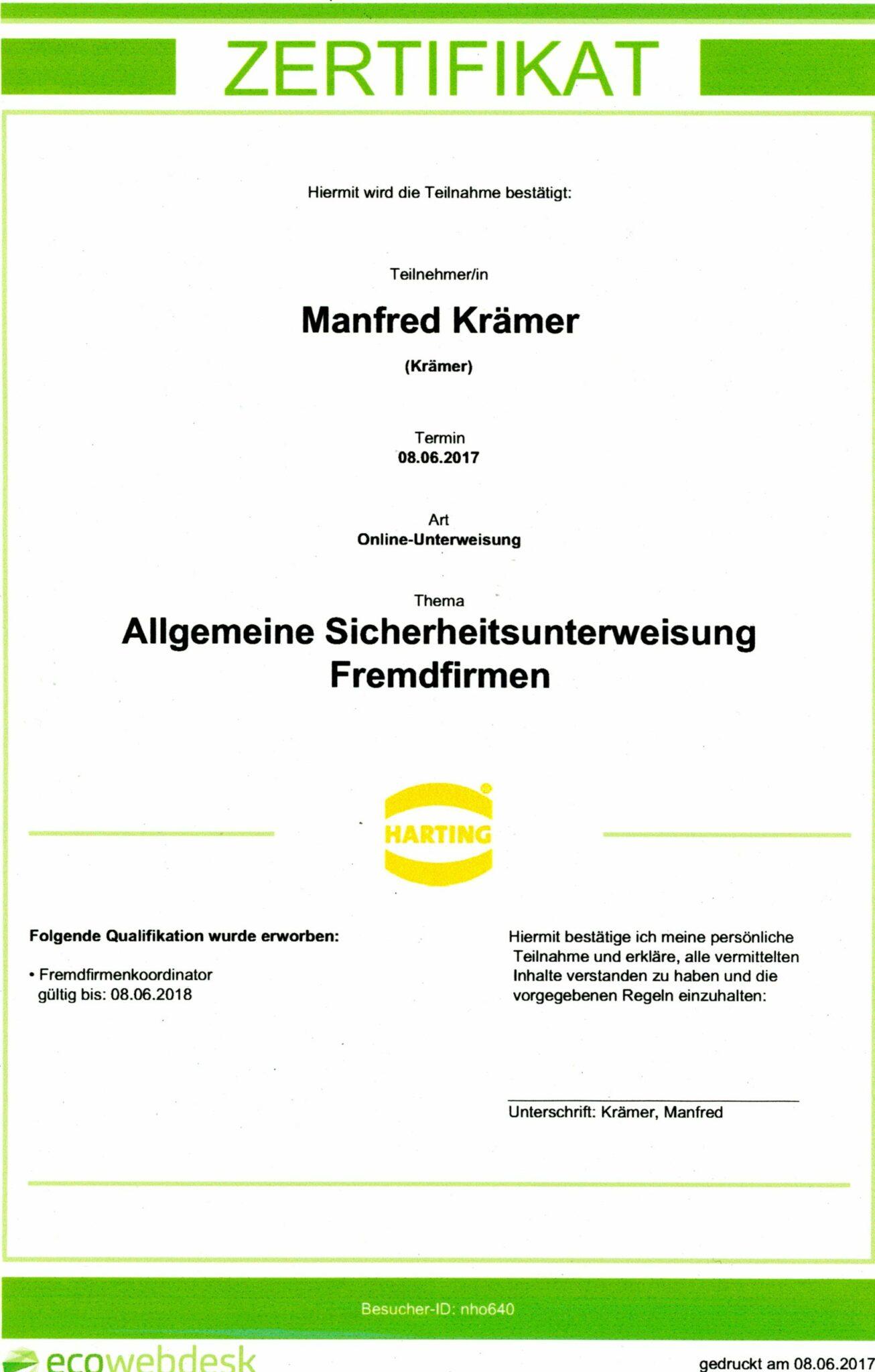 Harting Zertifikat Unterweisung