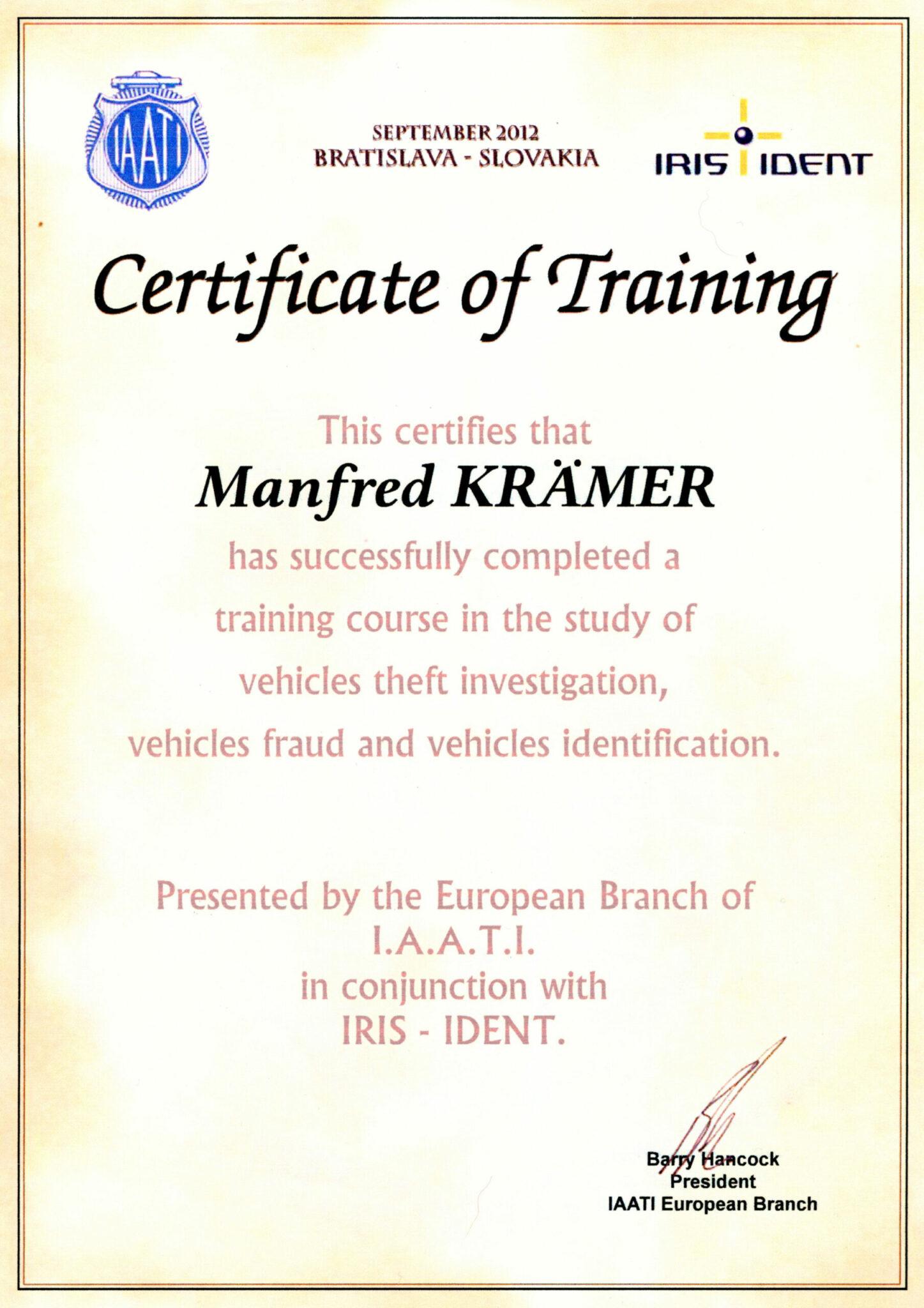 Iaati Certificat 2012
