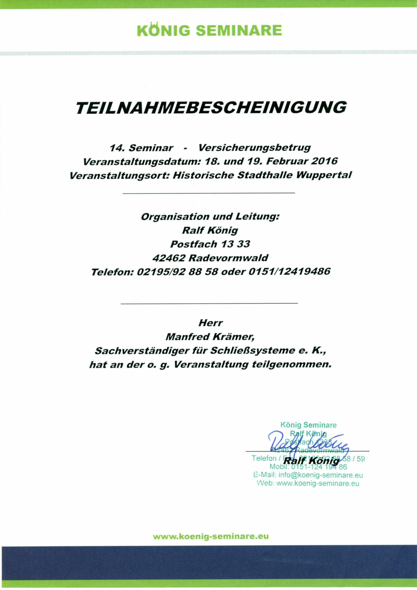 König Seminar Zertifikat 2016