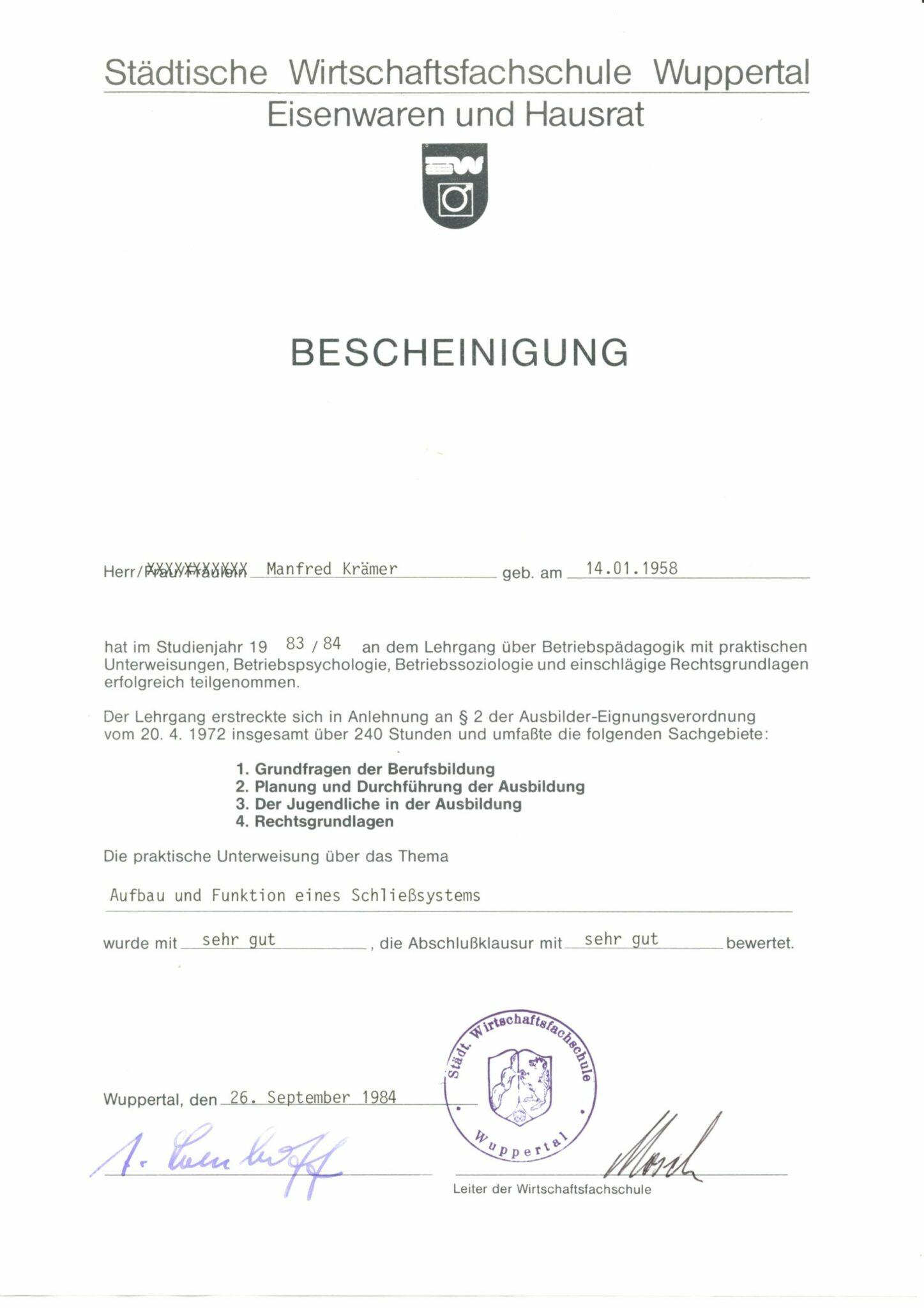 Pädagogik Zertifikat 1984